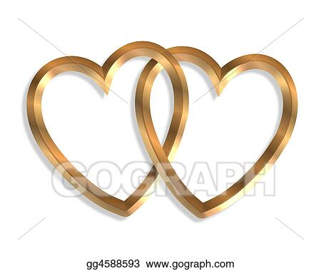 Stock Illustration - Linked gold hearts 3d. Clip Art gg4588593 ...