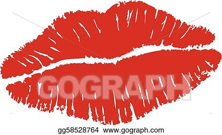Vector Art - Lipstick kiss. Clipart Drawing gg58528764 - GoGraph