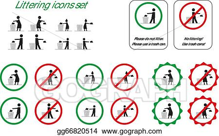Vector Art - Littering icons. Clipart Drawing gg66820514 - GoGraph