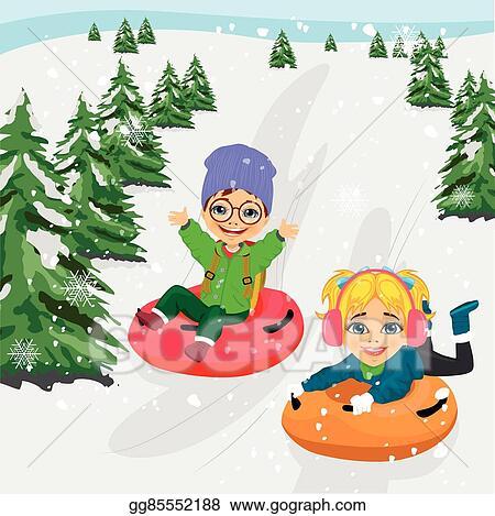 Vector Art - Little boy and girl sliding down hill on tubes ...