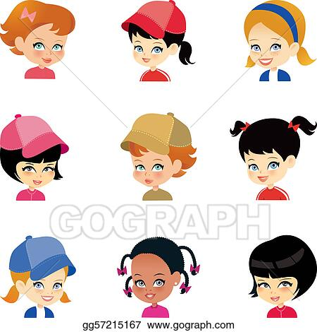 Little Girl Cartoon Faces Set