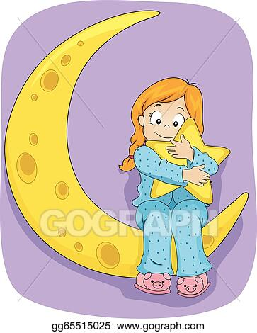 Kids Pajama Party Clipart Little kid girl on pajamas