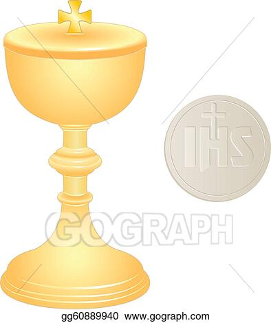 Vector Illustration - Liturgical golden chalice and wafer ...