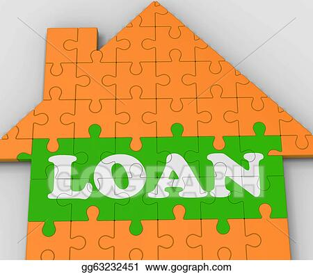Stock illustration loan house shows mortgage to purchase Mortgage to buy land