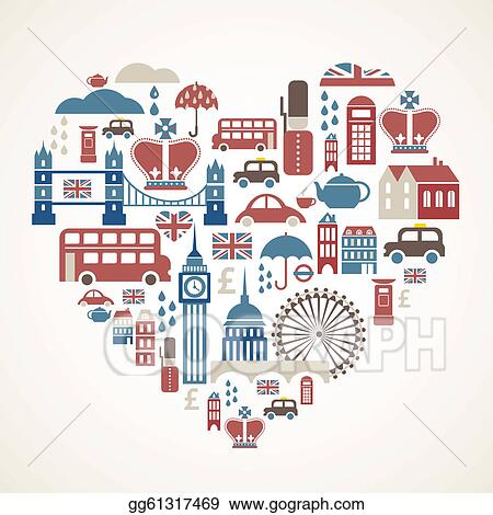 Vector Art - London love - heart with many vector icons ...