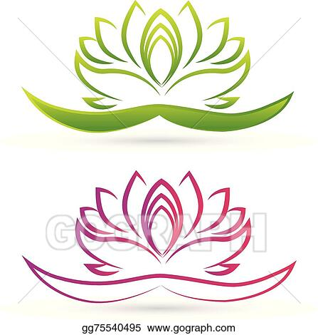 Vector Art - Set of lotus flowers logo vector. Clipart Drawing ...