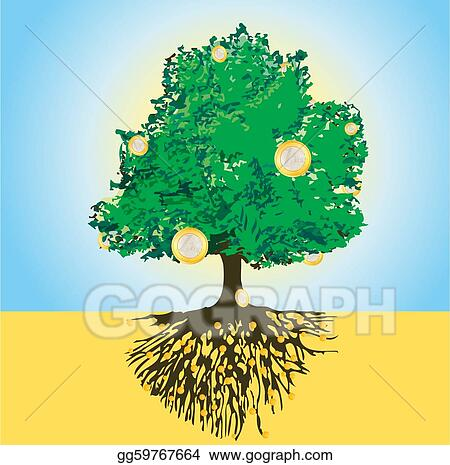 Magic money tree with golden roots 