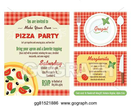 Vector Illustration Make your own pizza party invitation set – Make Your Own Pizza Party Invitations