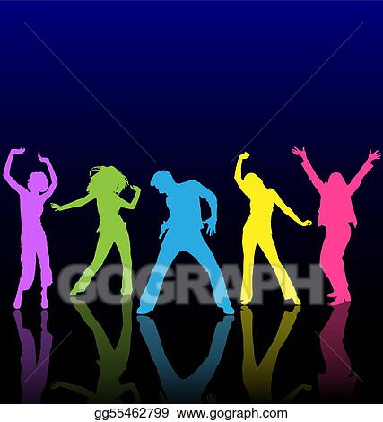 Male and female dancing colored silhouettes with reflections on dance floor.