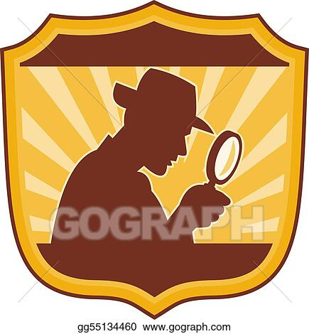 male detective inspector with magnifying glass set inside a shield
