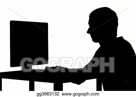 Drawing man at computer clipart drawing gg3963132