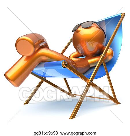 Drawings - Man character beach deck chair relaxing carefree sunglasses ...
