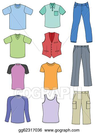 Stock illustration man clothes colored summer collection isolated on