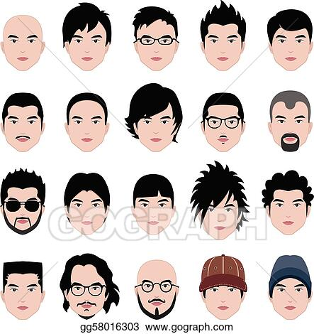 Stock Illustration - Man Male Face Head Hair Hairstyle. Clipart