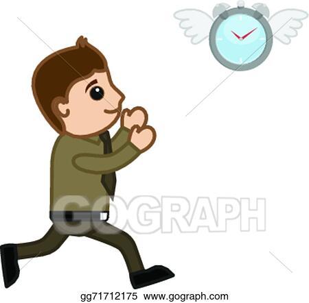 Vector Stock - Man running behind clock vector. Stock Clip Art ...