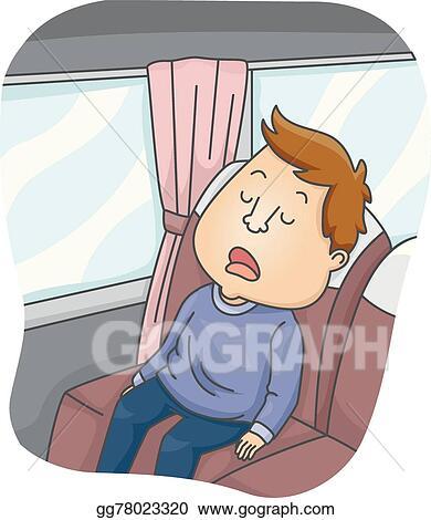Vector Art - Man sleeping bus. Clipart Drawing gg78023320 - GoGraph