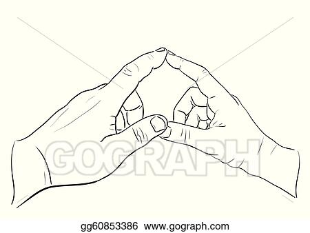 Man's and woman's hands touching in heart shape