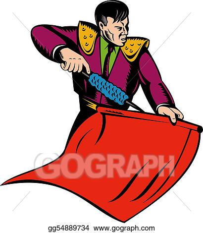Stock Illustrations - Matador or bullfighter with red cape ...