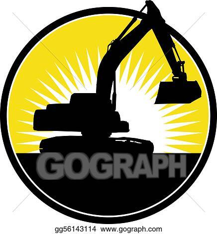 Clip art illustration of a mechanical digger with sunburst in
