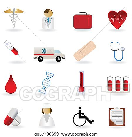 Vector Clipart - Medical and healthcare symbols. Vector ...