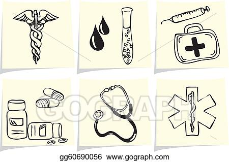 Medical and pharmacy icons on yellow memo sticks