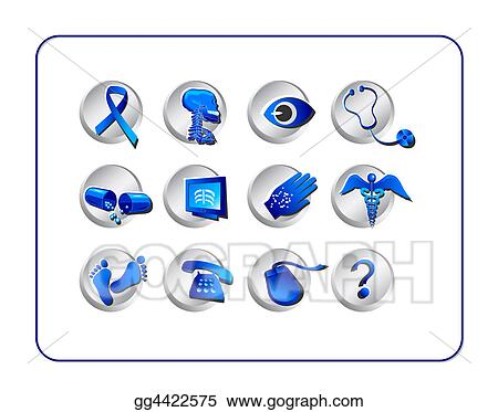 Medical & Pharmacy Icon Set - Blue-Silver