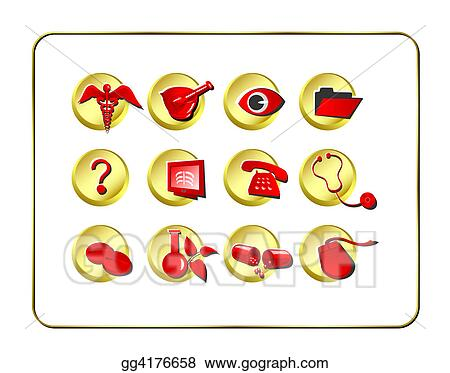 Medical & Pharmacy Icon Set - Golden-Red