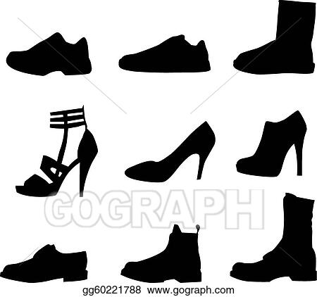 Vector Art - Men and women shoes silhouettes isolated on white