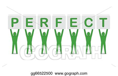 Drawing - men holding the word perfect. . Clipart Drawing ...
