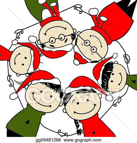 Vector Clipart - Merry christmas! happy family ...