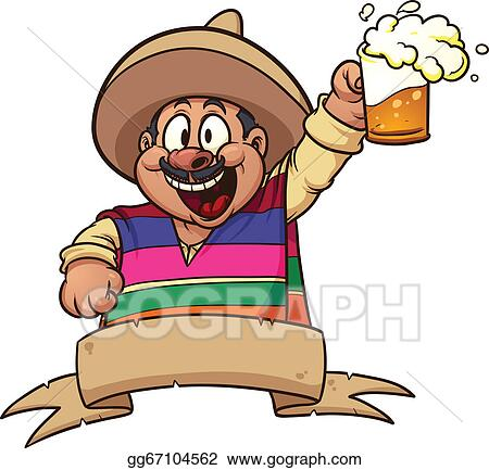 Vector Illustration - Mexican holding a mug of beer  vector clip art    Zarape Clipart
