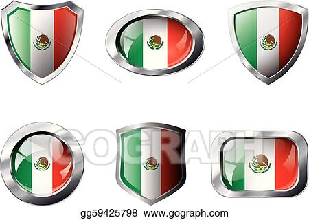 Mexico set shiny buttons and shields of flag with metal frame - vector illustration. Isolated abstract object against white background.