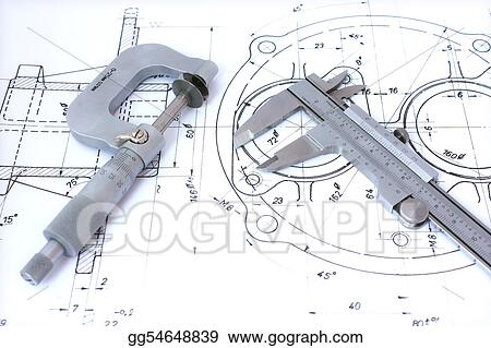 Micrometer and caliper on blueprint horizontal.