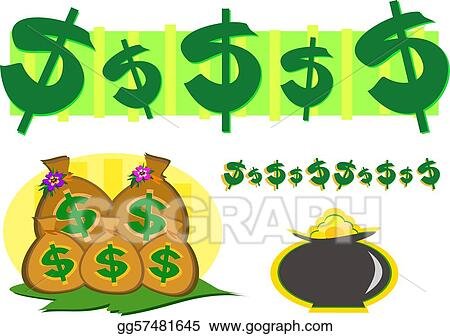 Mix of Money and Gold Wealth Symbol