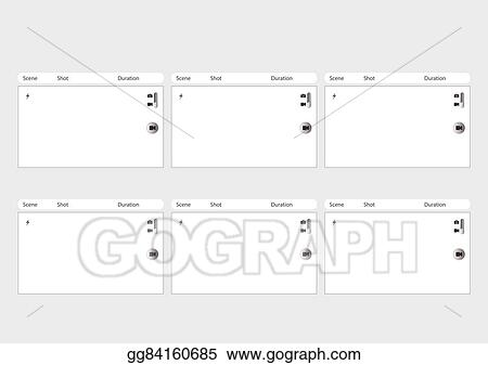 Vector Stock - Mobile Phone Camera 6 Frame Storyboard Template