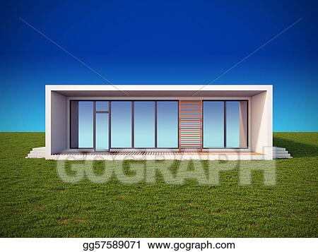 Stock illustration modern house in minimalist style for Modern house clipart