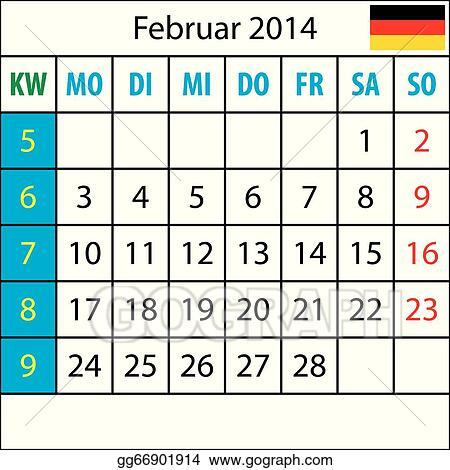 Mondkalender, Februar 2014, Deutsch, mit Zahl der Woche
