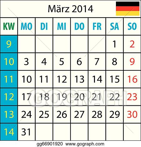 Mondkalender, Mondkalender, Maertz 2014, Deutsch, mit Zahl der Woche