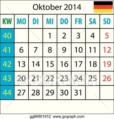 Mondkalender, Oktober 2014, Deutsch, mit Zahl der Woche