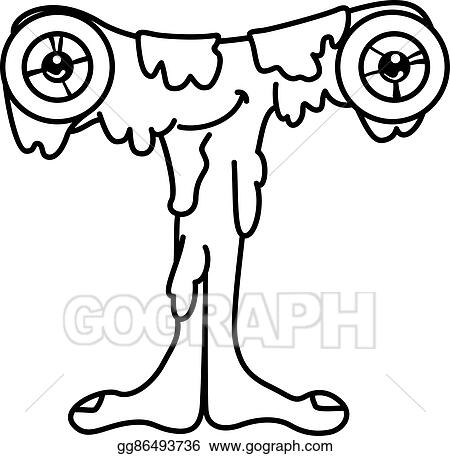 Vector Clipart  Monster alphabet coloring pages letter t Vector