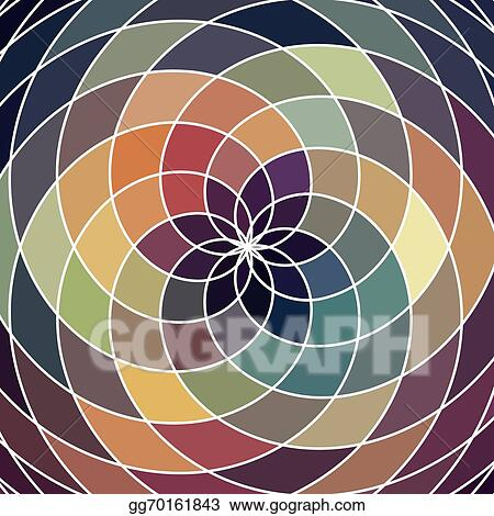 Vector Art - Mosaic spectrum color wheel made of geometric shapes ...