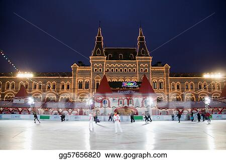 MOSCOW - DECEMBER 5: The skating rink has opened on Red square in front of trading house GUM, December 5, 2009 in Moscow, Russia.