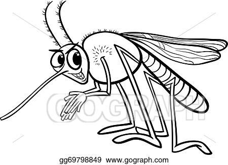 vector stock black and white cartoon illustration of funny mosquito insect character for coloring book clipart illustration gg69798849