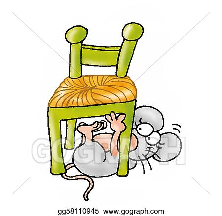Stock Illustration Mouse under the chair Clipart