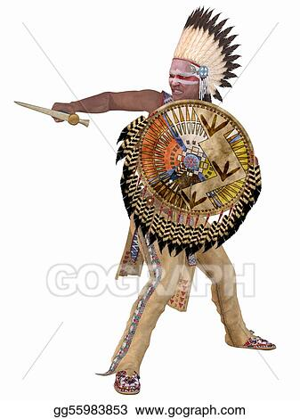 ... Illustration - 3D Render of an Native American Indian - Cheyenne