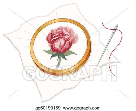 Clip Art  Needlepoint Embroidery Red Rose Stock