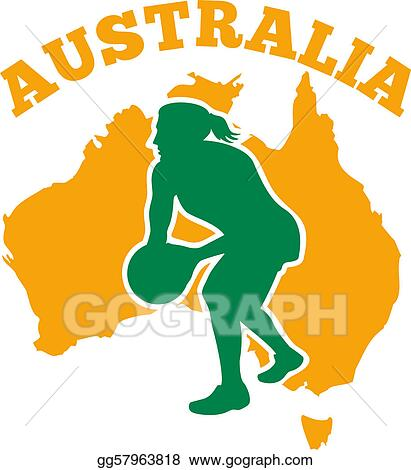 Stock Illustration - Netball player passing ball with map of ...