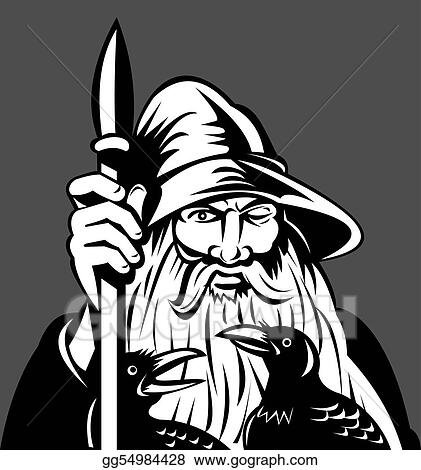 Stock Illustration - Norse god odin holding spear with ravens ...