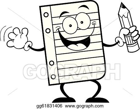 Vector Illustration - Notebook paper holding a pencil. Stock Clip ...