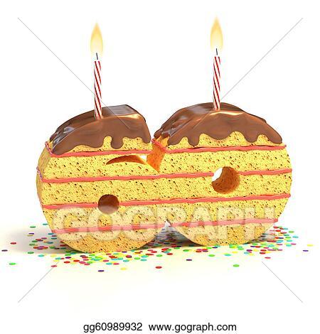 Art Cake Kuwait Number : Clip Art - Number 60 shaped cake. Stock Illustration ...